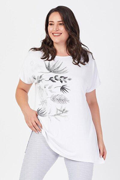 Büyük Beden Beyaz Yandan Baskılı T-shirt