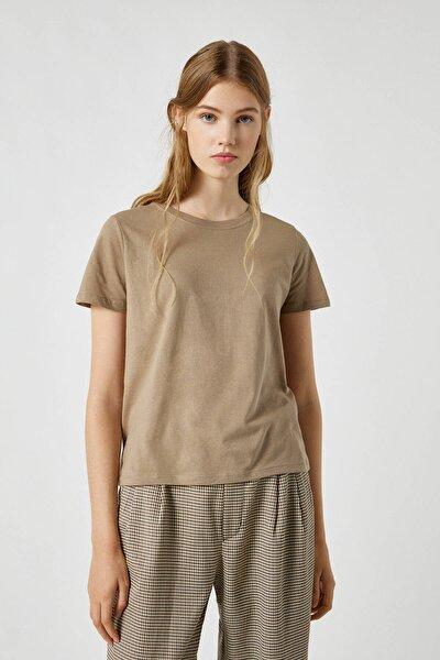 Kadın Haki Basic Bisiklet Yaka T-Shirt 09247411