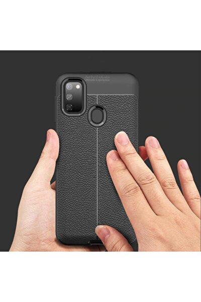 M21 Deri Görünüm Silikon Kılıf Siyah