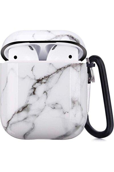 Apple Airpods Beyaz Mermer Desenli Kılıf 360 Koruyucu 1 2 Nesil Uyumlu