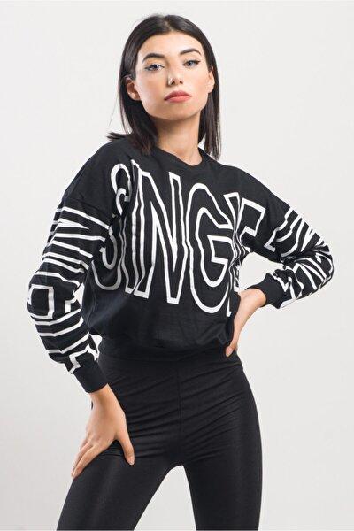 Single Kolları Ve Göğüs Baskılı Crop Sweatshirt