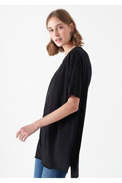 Kadın Siyah Yırtmaç Detaylı T-Shirt 167237-900