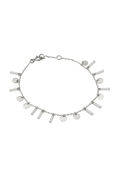 Pullu Çubuklu Gümüş Bileklik