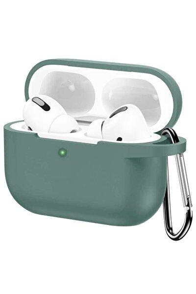 Apple Airpods Pro Silikon Kılıf Mat Esnek Silikon 360 Tam Koruma Yeşil