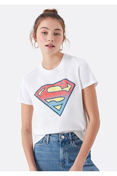 Kadın Beyaz Süperman Baskılı Tişört 168885-620
