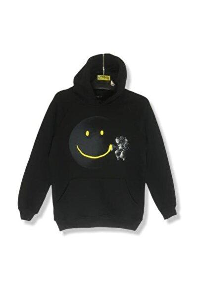 Smiley Astronot Erkek Siyah  Gezegen Hoodie