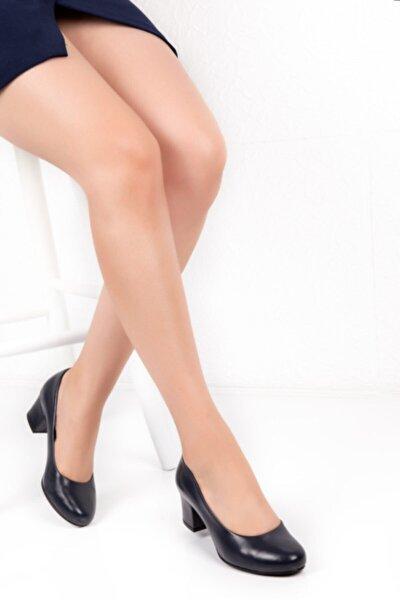 Kadın Lacivert Potini Hakiki Deri Topuklu Ayakkabı