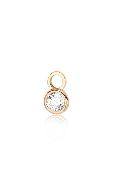 Yuvarlak Kesim, Swarovski Zirkon Beyaz Yuvarlak Taşlı, Rose Gümüş Küpe Charmı