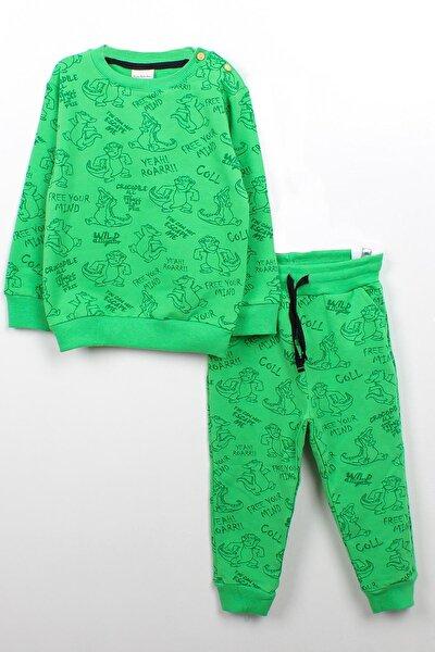 Erkek Bebek Yeşil Timsah Baskılı Takım
