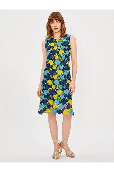 Kadın Lacivert Kolsuz Yuvarlak Yaka Dantel Elbise