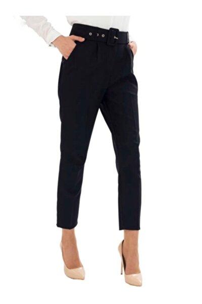 Kadın Siyah Kemerli Yüksek Bel Kumaş Pantolon