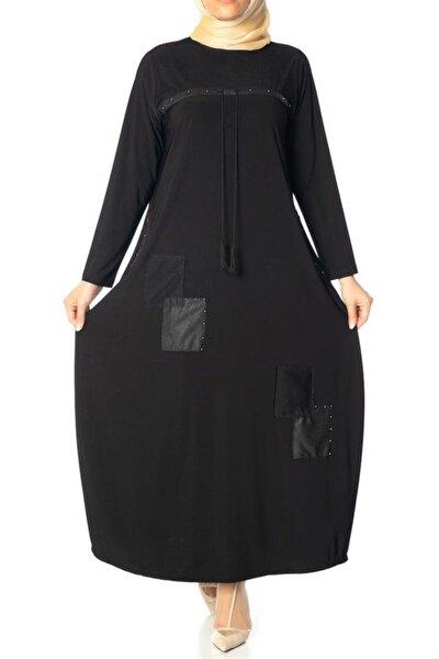Kadın Siyah Bağcıklı Fileli Elbise