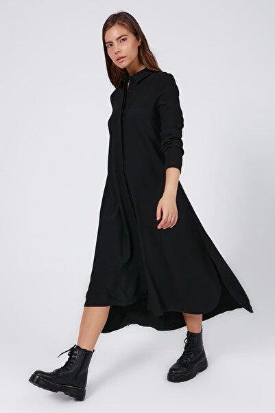 Kadın Gizli Düğmeli Yırtmaçlı Gömlek Elbise Y20w183-7052