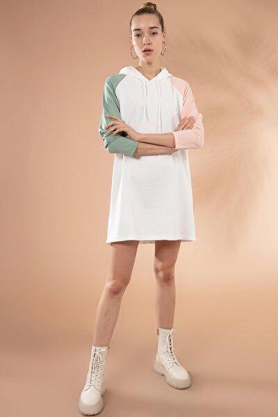 Kadın Kapşonlu Örme Sweatshirt Elbise Y20w110-7224