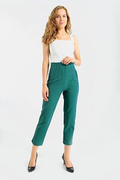 Kadın K.Yeşil Kadın Yüksek Bel Rahat Kesim Şık Ofis Pantolon - K.yeşil 40022