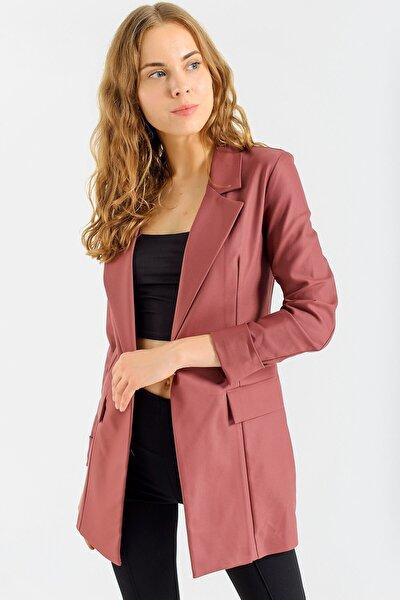 Kadın Gül Kurusu Kadın Kolu Katlanabilir Uzun Kol Boyfriend Şık Ofis Blazer Uzun Ceket- 37012