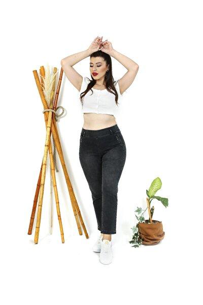 Kadın Siyah Nervürlü Şeritli Pantolon