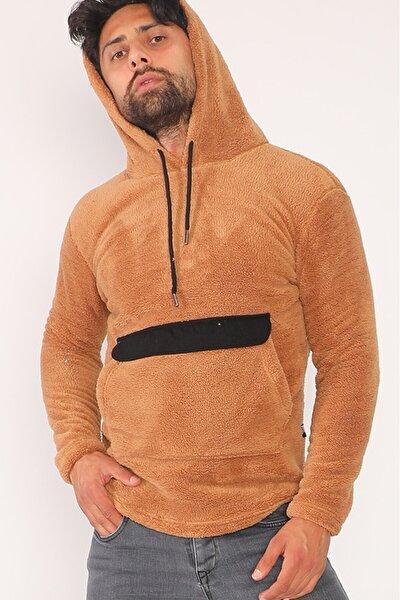 Erkek Kahverengi Peluş Kanguru Cepli Kapüşonlu Sweatshirt