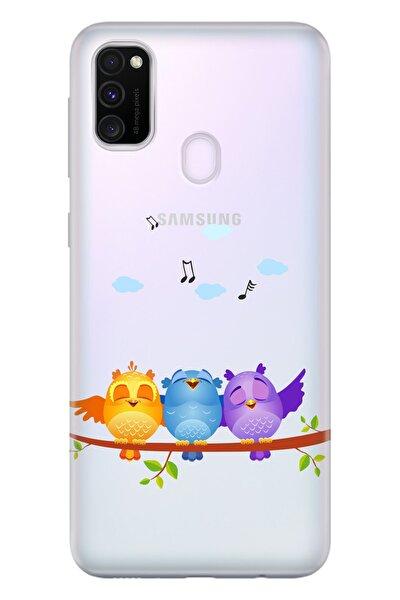Samsung Galaxy M21 Kılıf Temalı Hd Desenli Silikon - Kuşlar