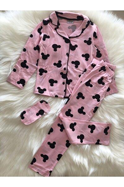 Kız Çocuk 4-12 Yaş Mickeyli Önden Düğmeli Pijama Takımı