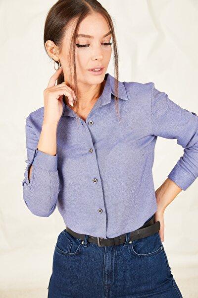 Kadın Indigo Uzun Kollu Düz Gömlek ARM-19K001200
