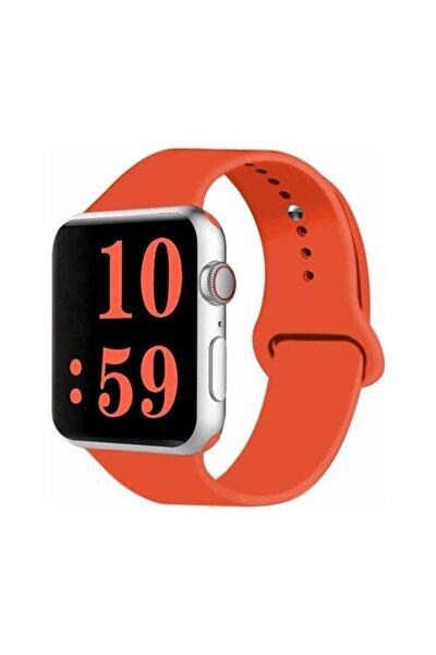 Turuncu Apple Watch Spor Kordon Silikon Kayış 38 - 40 mm