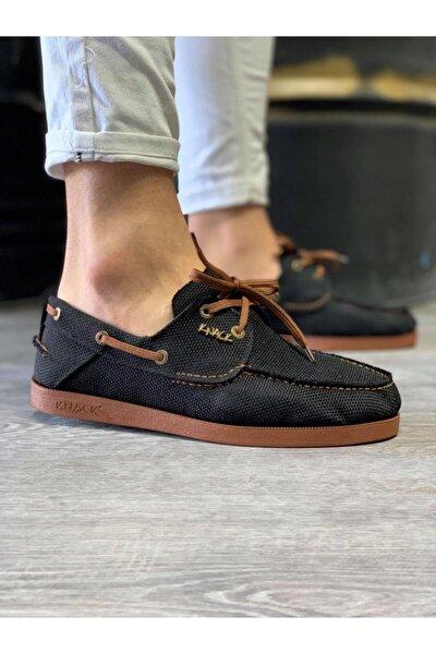 Mevsimlik Keten Ayakkabı 008 Siyah (taba Taban)
