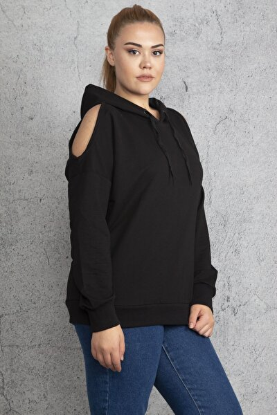 Kadın Siyah Kapşonlu Omuz Dekolteli Sweatshirt 65N18831