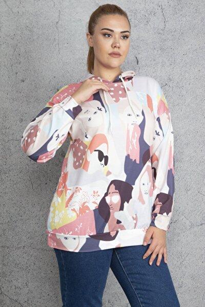 Kadın Renkli Ön Baskılı Kapşonlu Sweatshirt 65N18841