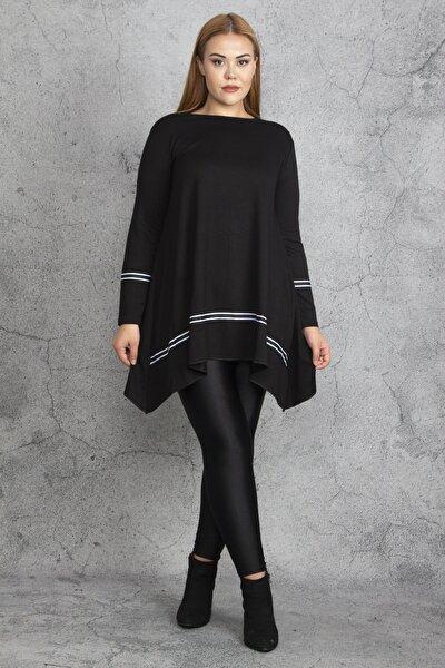 Kadın Siyah Ribana Detaylı Tunik 65N18830