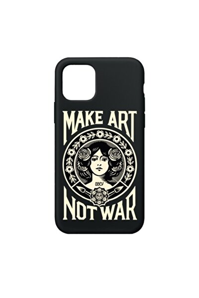 Make Art Not War Premium Siyah Iphone 11 Telefon Kılıfı
