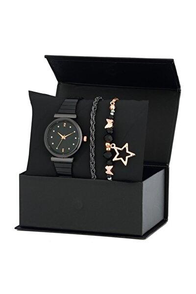 Siyah Metal Kol Saati 2 Bileklik Kombin Set Ps1533