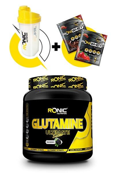 Glutamine Ultimate 900 Gr (böğürtlen Aromalı) + Shaker Ve 2 Adet Tek Kullanımlık Whey Protein Hediye