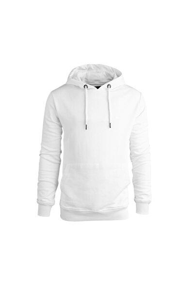 Erkek Beyaz Hoodie Badge Sweatshirt 200212050-wht