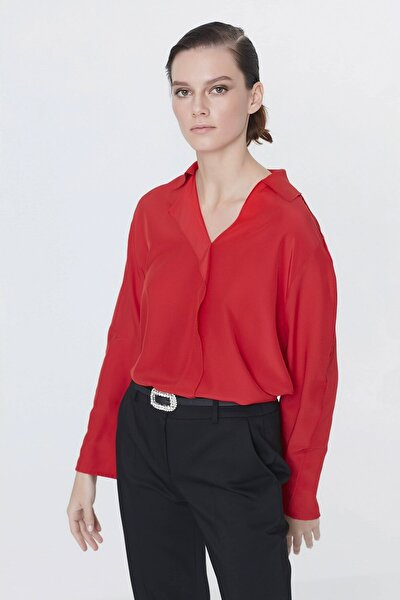 Kadın Kırmızı Yaka Detaylı Bluz IS1200006093034