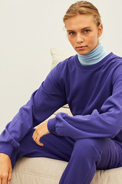 Kadın Mor Basic Sweatshirt