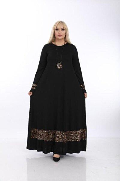 Kadın Siyah Büyük Beden Leopar Detaylı Viskon Elbise