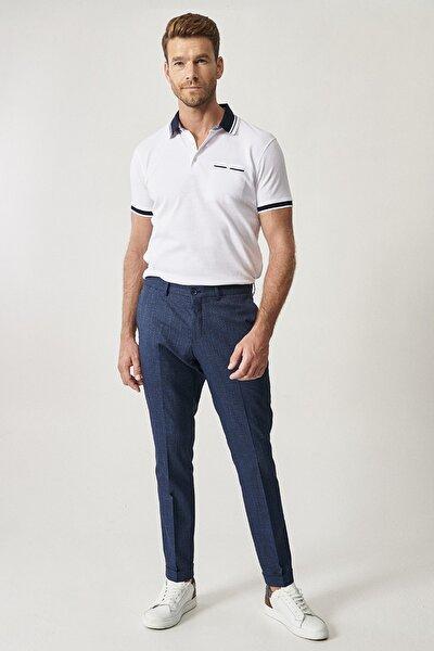 Erkek Lacivert Slim Fit Casual Pantolon