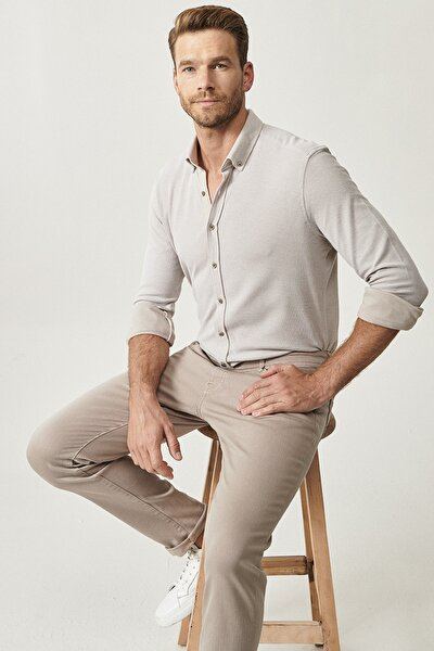 Erkek Bej 360 Derece Her Yöne Esneyen Düğmeli Yaka Örme Tailored Slim Fit Gömlek