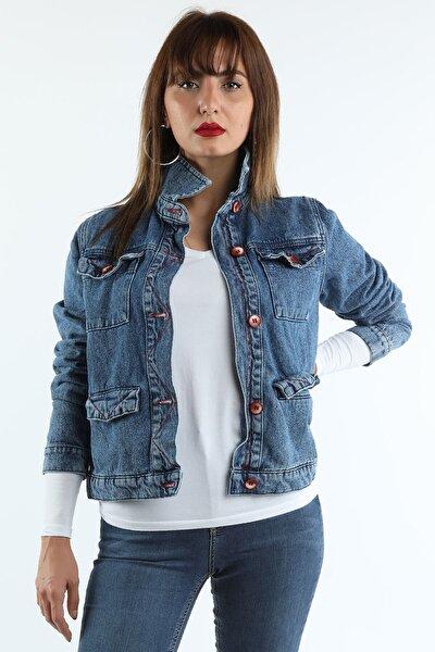 Kadın Koyu Mavi Dikişli Kot Ceket