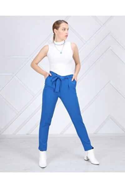 Kadın Mavi Yırtmaç Detaylı Kuşaklı Pantolon
