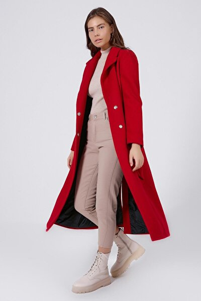 Kadın Kırmızı Yırtmaç Detaylı Belden Kuşaklı Uzun Kaşe Kaban  Y19W127-21184