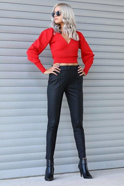 Kadın Siyah Çimalı Deri Pantolon