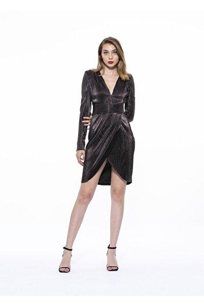 Kadın Siyah Örme Metalik Kruvaze Isla Elbise