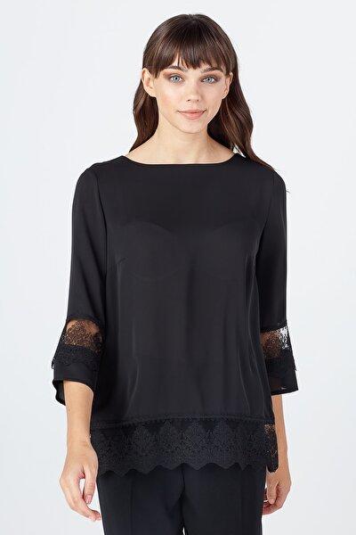 Kadın Siyah Dantel Detaylı Bluz 02071