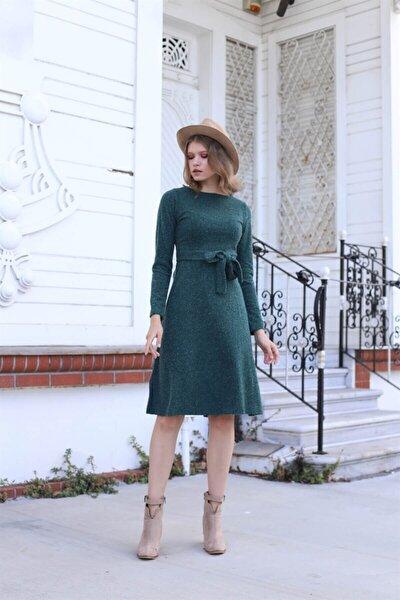 Kadın Yeşil Uzun Kollu Kuşaklı Midi Boy Elbise