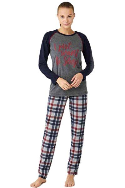 Kadın Antrasit Ekoseli Eşli Pijama Takımı