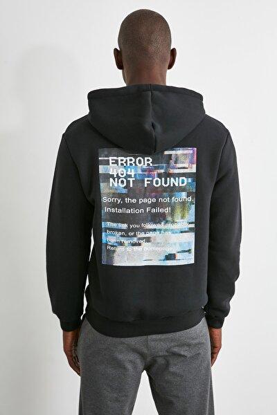 Siyah Erkek Sırt Baskılı Sweatshirt TMNAW21SW0640