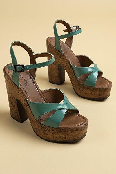 Kadın Yeşil Hakiki Deri  Sandalet
