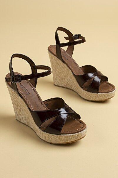 Kadın Bordo Hakiki Deri Sandalet